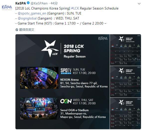 1月8日,KeSPA官方公布LCK春季赛赛程,揭幕战为1月16日KZ(原龙珠) vs KSV(前三星),正常比赛日为周二、周三、周四、周六和周日。