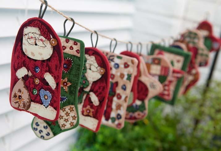 手绘圣诞节布艺挂件