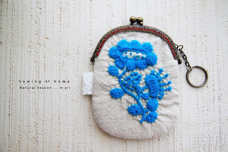 刺绣蓝花花口金包